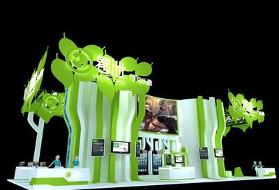 253平米展台设计制作:四面开口/现代/木质结构/绿色