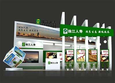54平米展台设计制作:一面开口/现代/木质结构/绿色