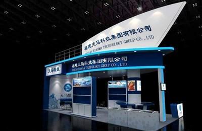 72平米展台设计制作:三面开口/现代/木质结构/蓝色