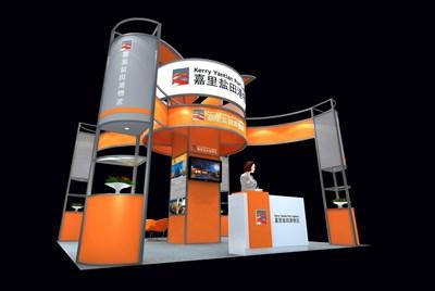36平米展台设计制作:四面开口/现代/型材结构/橙色,为交通物流展展商