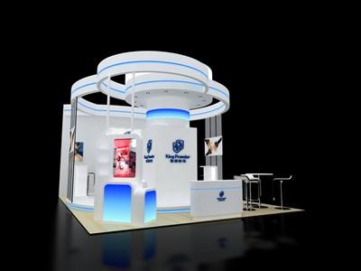 45平米展台设计制作:三面开口/现代/木质结构/白色,为美博会展商而作