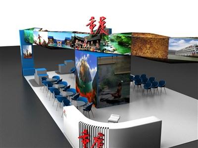 60平米展台设计制作:四面开口/前卫/型材结构/彩色,为旅游展展商而作